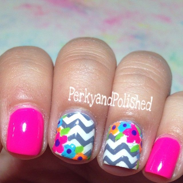 Gray & Hot Pink Floral Chevron Nails