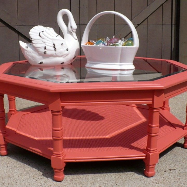 Octagonal Glass Top Coffee Table, Painted Coral From Julies Box For $60 On  Square Market