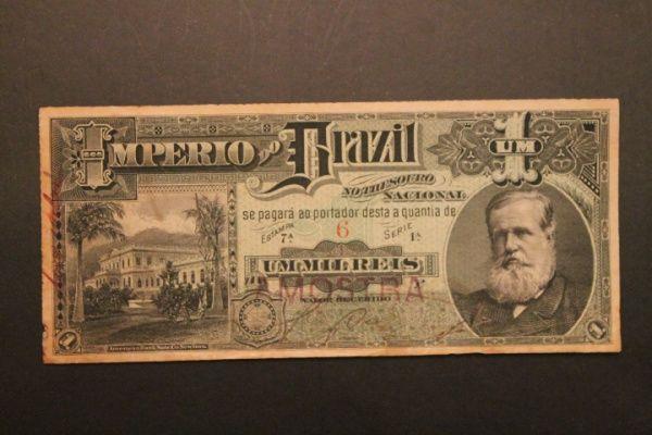 Brasil Império - Cédula de 1 Mil Reis `Amostra` - Cédula Rara