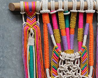 YAMER   Unique wall hanging macrame with tassels on light timber dowel this one is very refreshingly green combines natural tones with bright colours and has beautiful details will look great with succulents around size: approx. 250 x 970 mm (wall hanging itself, without the dowel) colours : jute, deep navy blue, neon orange, mustard yellow, beige  wall hangings are an amazing home decor they immediately transform your room  I love the atmosphere they create!  Free shipping within Australia.