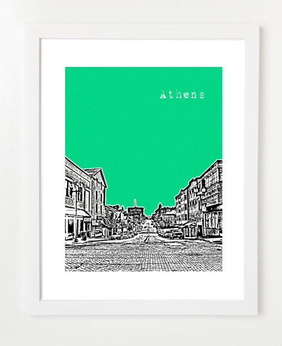 Athens Ohio Art Print  Athens OH Poster  Athens by BugsyAndSprite, $20.00