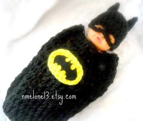 For BABY!!!!--- BATMAN Baby handmade crochet Set Hat and cocoon 0 to