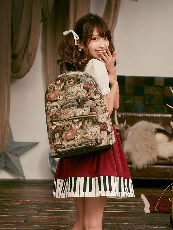 [選べる2タイプ♪ゴブラン織りクマ柄バッグ|DM|PR||]【2015AW】|夢展望