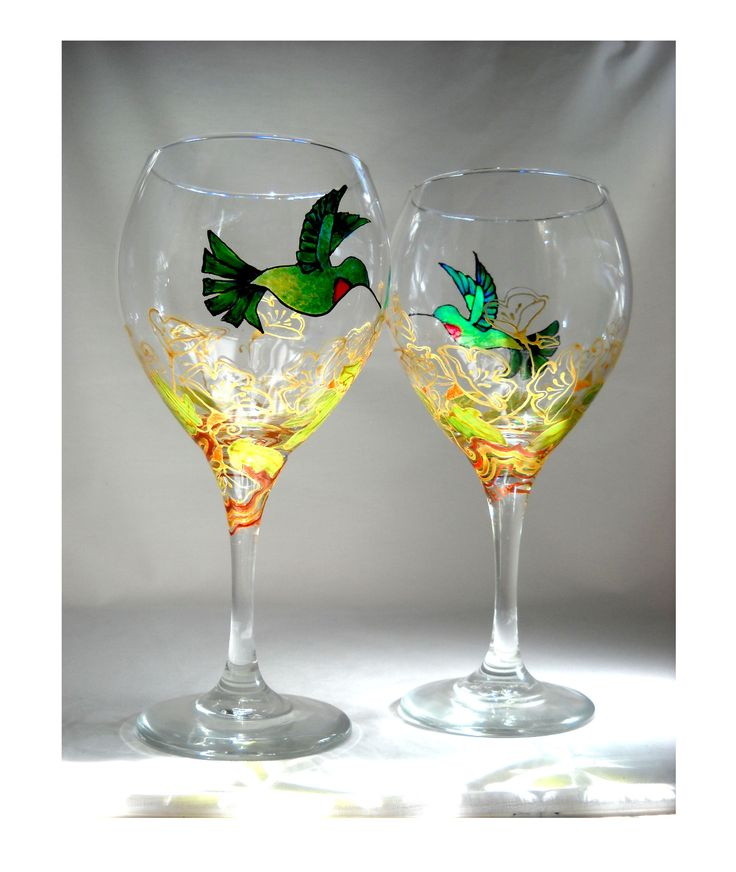 Hummingbird Goblets Hand Painted Custom Design Glassware Made To Order