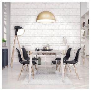 Devine Color Textured Brick Peel & Stick Wallpaper - White