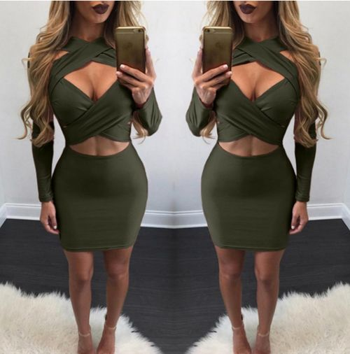 Green Cut-out Cross Over Bodycon Dress