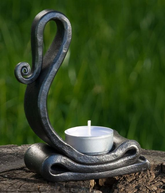 Forged Tealight Candle Holder Candlestick Stick by WulflundJewelry