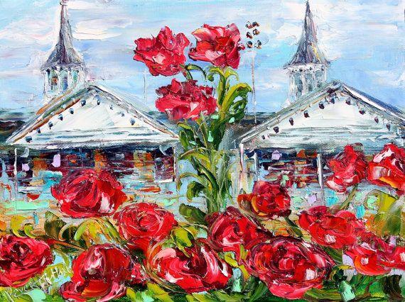 Original oil painting Churchill Downs Kentucky Derby on canvas impressionism palette knife fine art texture landscape by Karen Tarlton