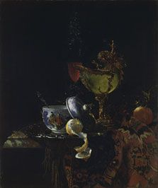 Willem Kalf, Still Life with a Chinese Bowl, a Nautilus Cup and other Objects, 1662, Oil on canvas, Museo Thyssen-Bornemisza, Madrid