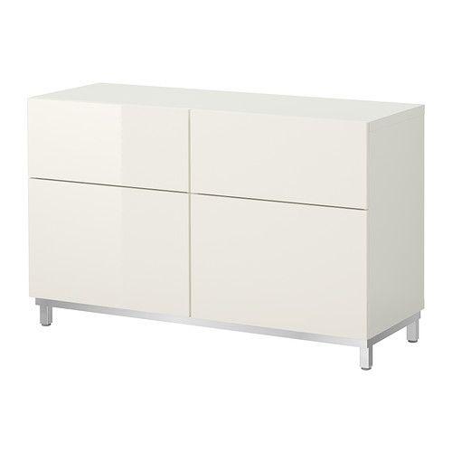 BESTÅ Förvaringskombination+dörrar/lådor - vit/högglans vit  - IKEA