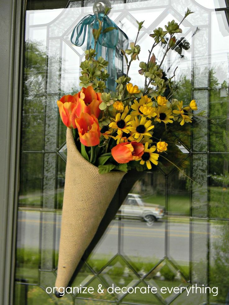 Cool idea for spring in place of a wreath