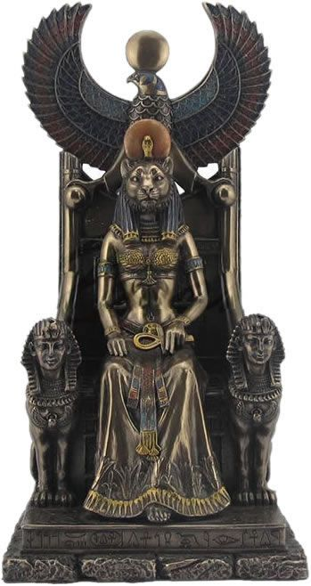 """DA SÉRIE PANTEÃO EGÍPCIO  - Sekhmet é uma das mais antigas divindades egípcias. Como a 'Senhora do Lugar do Começo do Tempo', ela é representada como uma mulher com cabeça de leoa. Em toda história egípcia Sekhmet foi invocada como um poder protetor.Como guardiã feroz do deserto ocidental, ela repele as forças hostis para os confins do mundo criado."""" (Monica von Koss, Maria H Tedesco, Isolde Marx). Da página Tradições-Mitologia-Ícones-Holismo"""