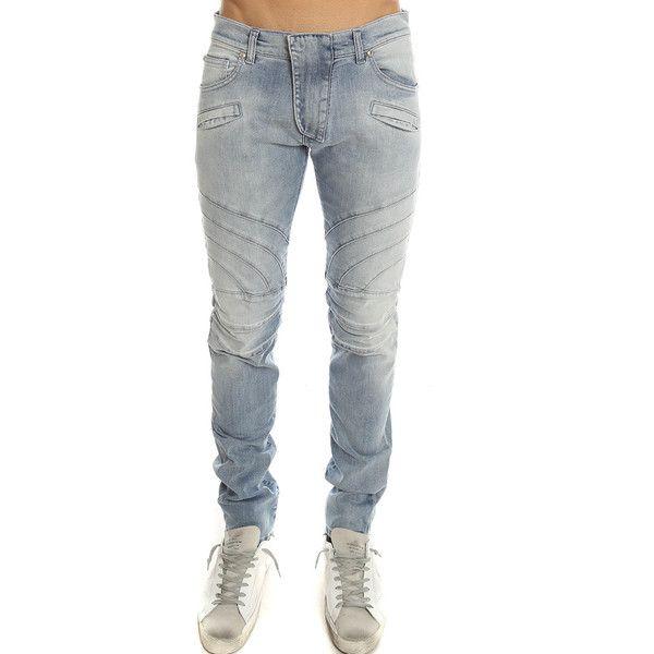 Pierre Balmain Biker Jean ($725) ❤ liked on Polyvore featuring men's fashion, men's clothing, men's jeans, men, whats new, mens button fly jeans, mens jeans, mens biker jeans, mens flap pocket jeans and mens light blue jeans