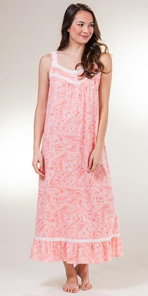 c6edf4f743 Carole Hochman Sleeveless Long Cotton Knit Nightgown in Coral Paisley