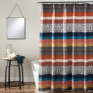 Tangerine Fabric Shower Curtain