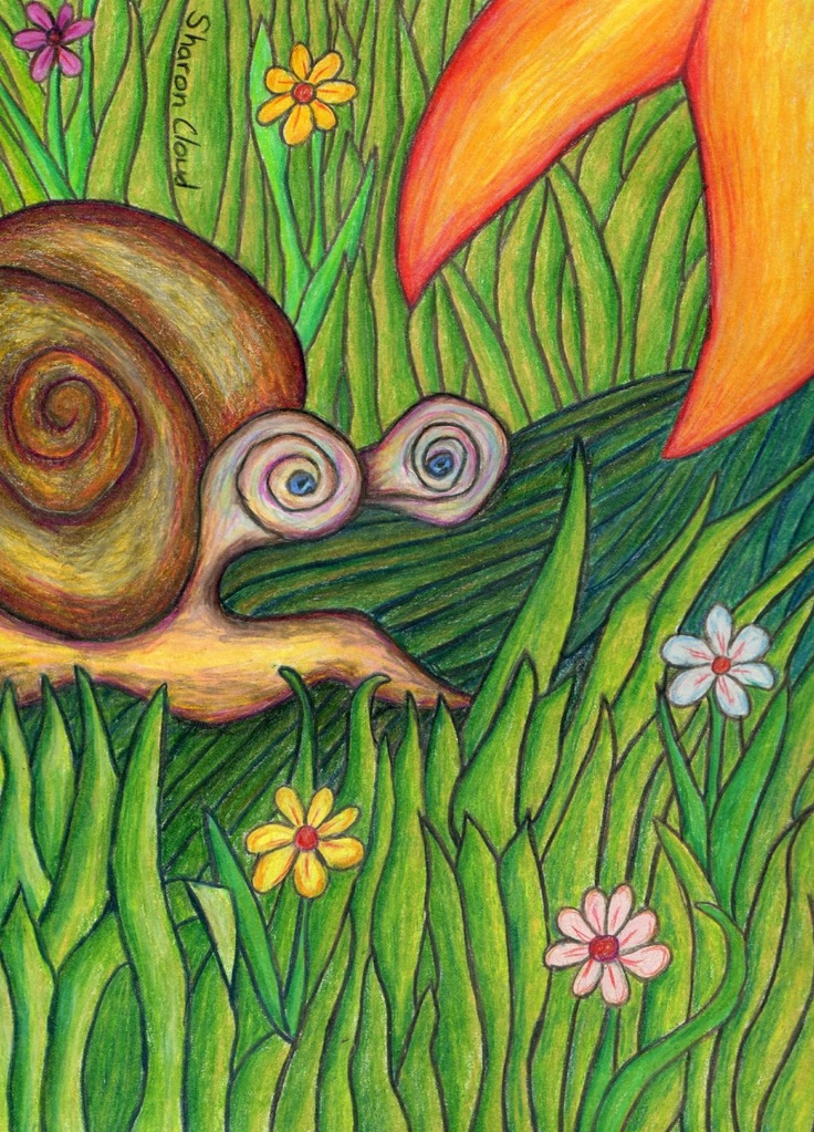 'The Snail' 9x12 colored pencil drawing.