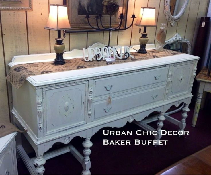 Cottage Chic Farmhouse Shabby Antique Baker Furniture Company Buffet Click The Image