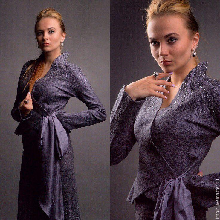 """Купить Костюм """"Серо-лиловый"""" - темно-серый, однотонный, Валяние, жакет женский, юбка"""
