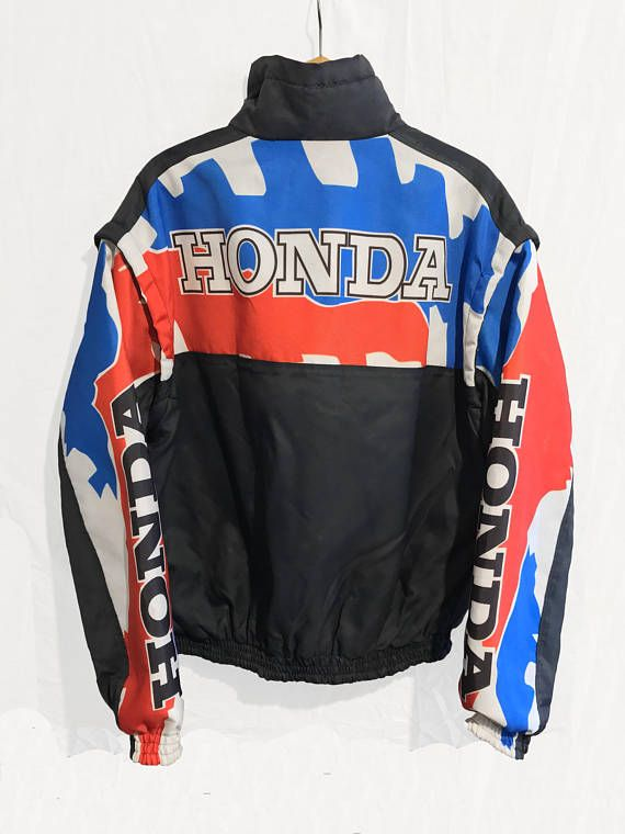 Rare Vintage Honda Racing Bomber Jacket Vest Blue Jackets 90s Jacket Bomber Jacket