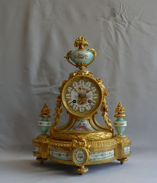 pretty antique figurines | French Antique porcelain and ormolu clock in turquoise porcelain ...