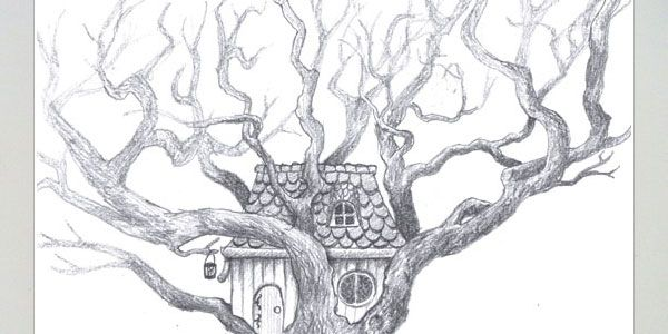 how to draw a cool treehouse