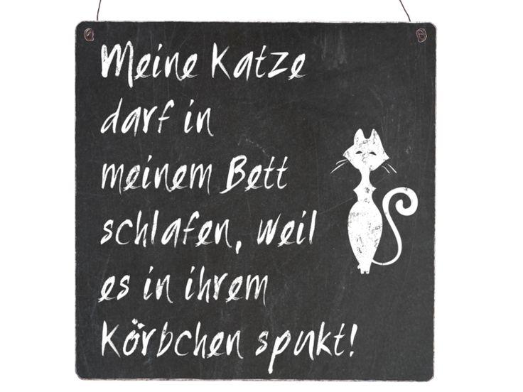XL Shabby Vintage Schild Holz MEINE KATZE DARF  von INTERLUXE auf DaWanda.com