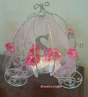 Cinderella Baby Shower Carriage Centerpiece. Princess Baby Shower