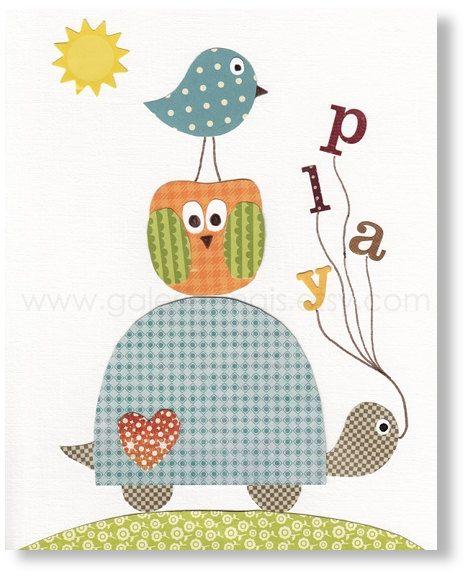 Blue orange green nursery - baby decoration - nursery wall art - owl nursery - turtle nursery - bird - play words - Playing Outside