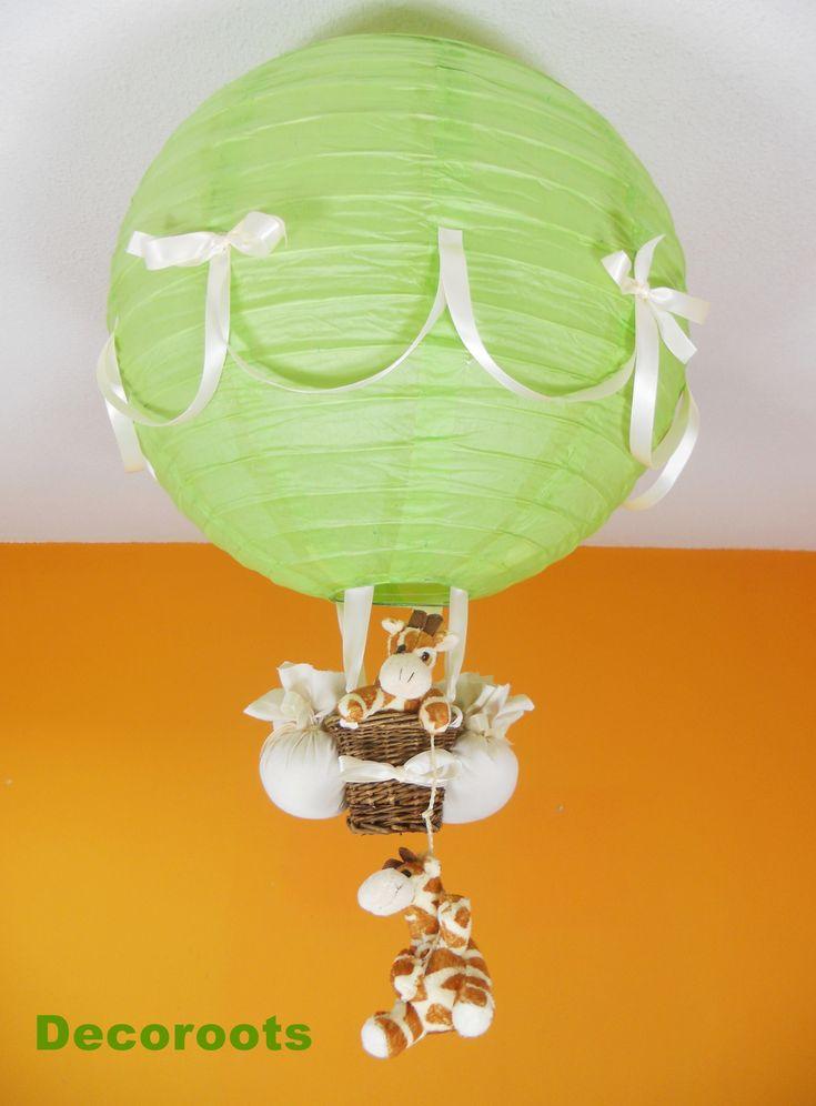 lampe montgolfière jungle girafe vert beige
