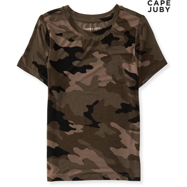 Aeropostale Cape Juby Camo Baby Tee ($10) ❤ liked on Polyvore featuring tops, t-shirts, cherry brown, brown t shirt, camo print t shirt, military brown t shirts, camouflage tee and pattern tees