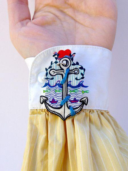 Anker Brosche, Anstecker von Granatapfel - Onlineshop mit Illustriertem. auf DaWanda.com