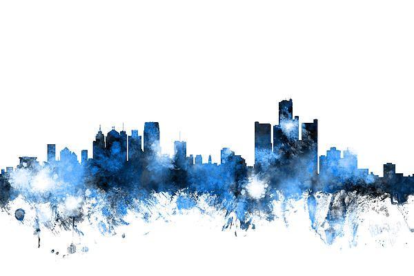 Detroit Michigan Skyline Print by Michael Tompsett