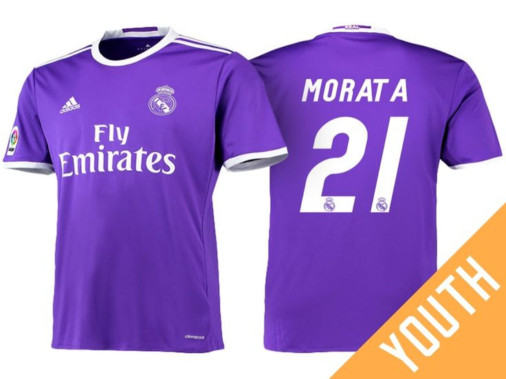 Real Madrid #21 Alvaro Morata 2016-17 Road Jersey - Youth