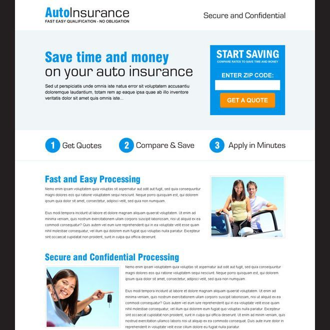 Auto Insurance Quote By Zip Code Responsive Landing Page Design