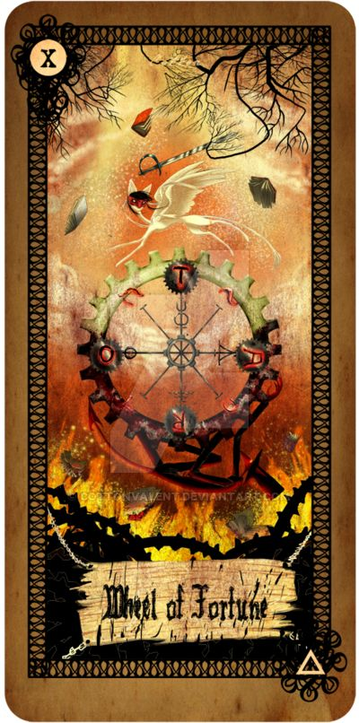 Tarot Card Wheel Of Fortune By Cottonvalent On