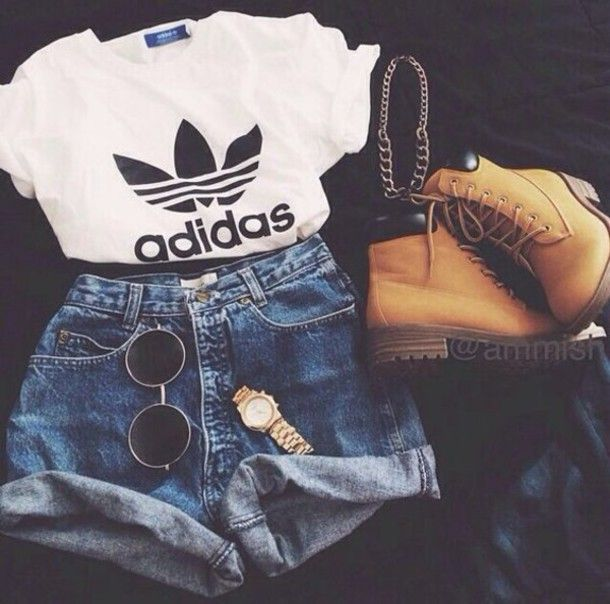 t-shirt adidas originals timberland look style black round glasses gold watch gold shorts high waisted levi shorts black and white casual adidas