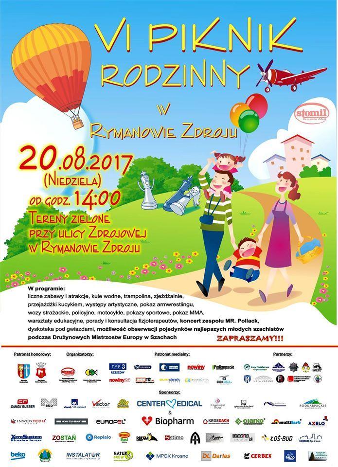 """Przedsiębiorstwo Sanatoryjno-Turystyczne """"Stomil"""" serdecznie zaprasza do udziału w VI Pikniku Rodzinnym, który odbędzie się 20 sierpnia 2017 r. (niedziele), start o godz. 15, szczegóły imprezy na plakacie:"""