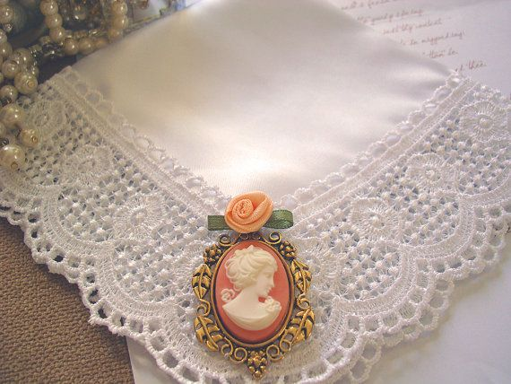 Cameo Wedding Hanky, Bridal Shower Gifts, Mother of Bride Gift, Grandmother - Satin Handkerchief w/ Vintage Cameo & Rose - Victorian Empress. $45.00, via Etsy.