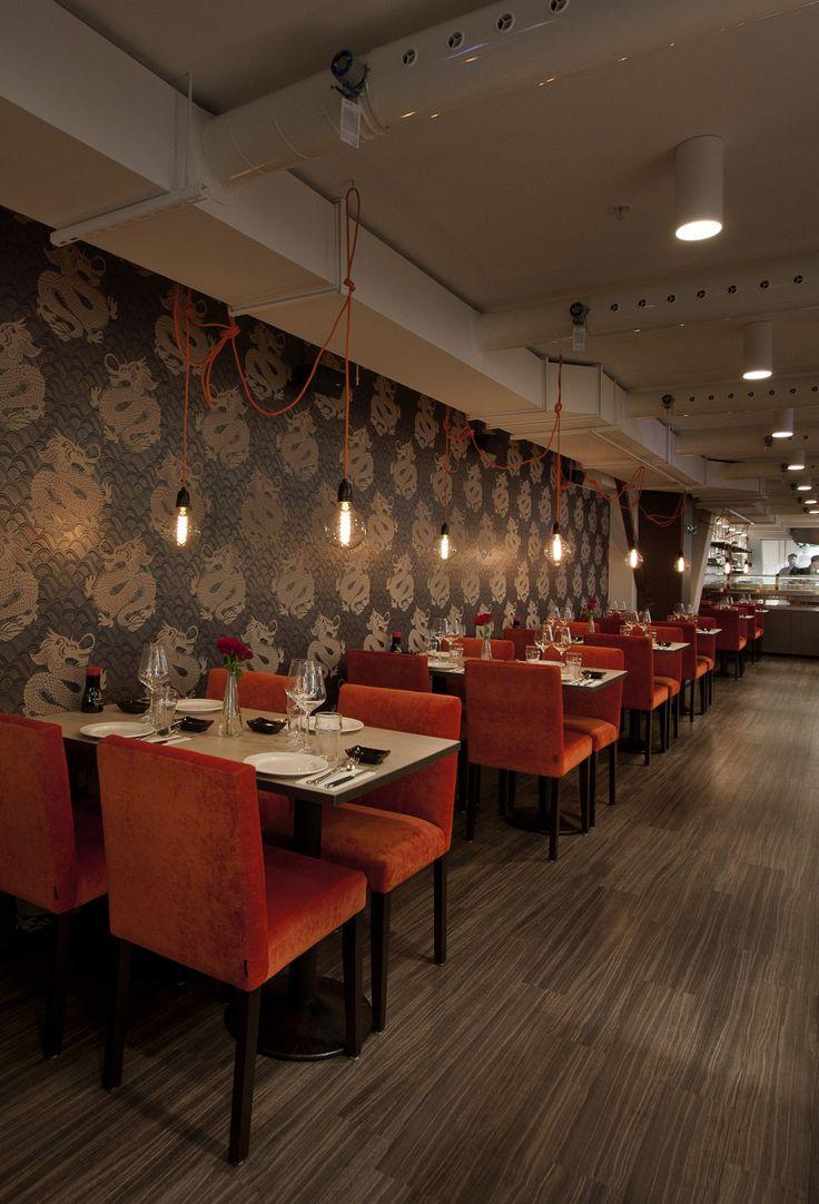 Restaurant ZAN Kista Galleria. Running Sushi. Restaurant Interior.