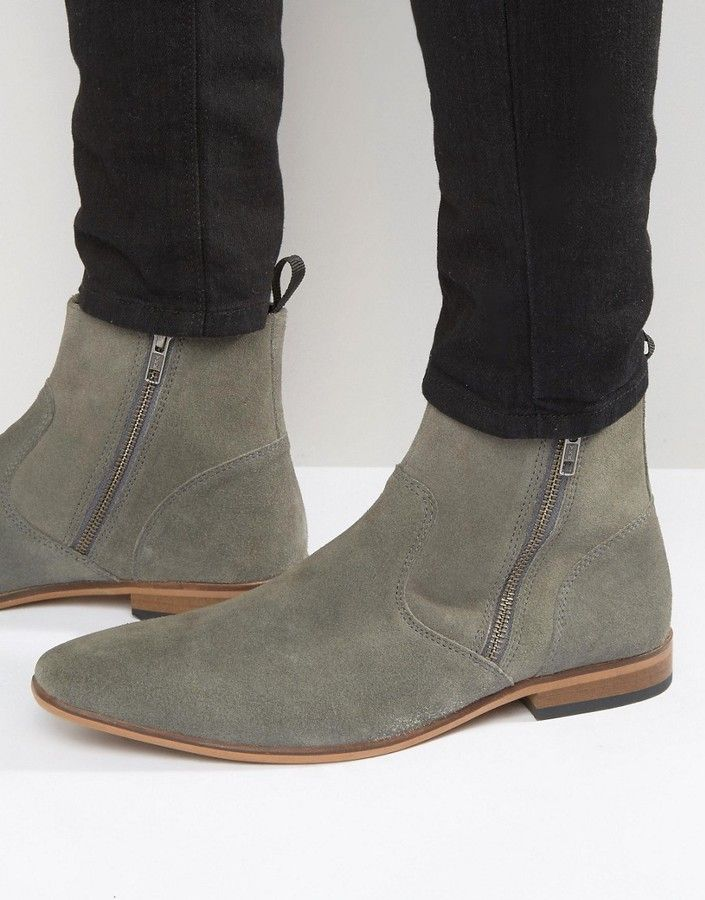 ASOS Chelsea Boots In Gray Suede