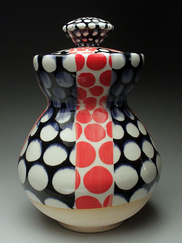 Simple circles can have a strong impact! Sean O'Connell Lidded Jar at MudFire Gallery.