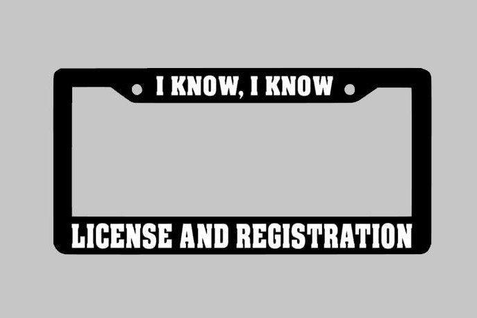 license and Registration License Plate Frame, Custom License Plate Frame, JDM Drift 4x4 funny by StickUpGraphix on Etsy