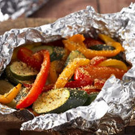 Foil-Packet Hearty Tuscan Parmesan Grilled Veggies