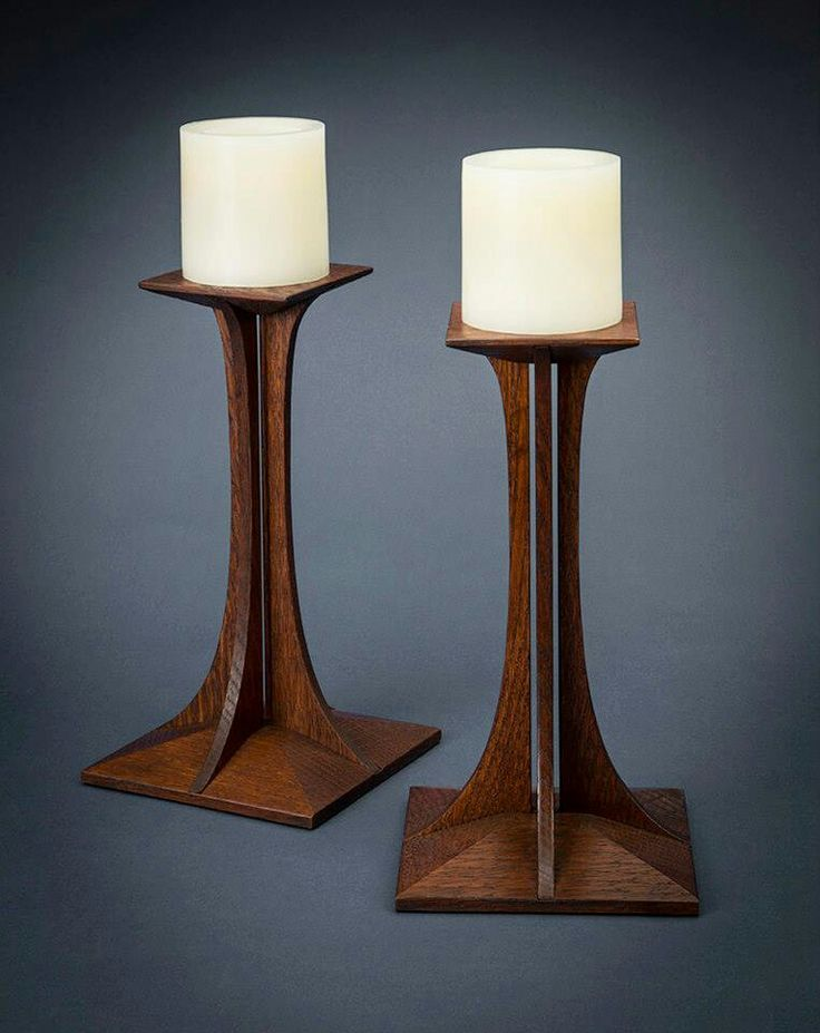 "Candle Sticks - Made by Gustav Stickley's Great-great-granddaughter, Jenny, for the Craftsman Farms 2013 ""Design For Living"" gala and fundraiser"