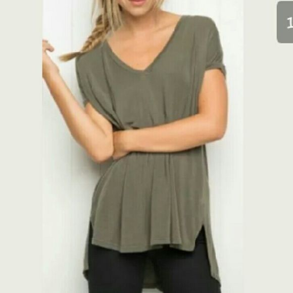 Nwt Brandy Melville Milan Olive Shirt Very soft, like all Brandy shirts. Slight hi-low style and comfortable! NWT!   *no Trades *Please read description before purchasing *pet/Smoke free home *open to offers Brandy Melville Tops