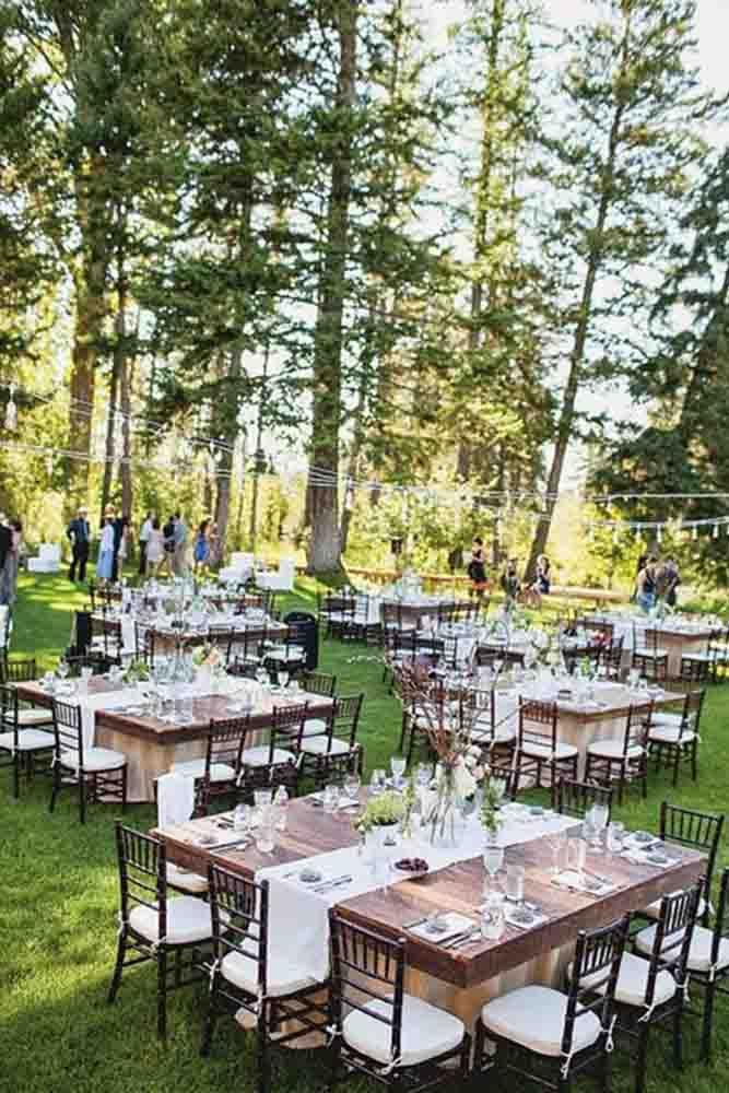 Interesting way to lay out an outdoor wedding reception - Best Wedding Reception Seating Layouts ❤ See more: http://www.weddingforward.com/best-wedding-reception-seating-layouts/ #wedding #bride