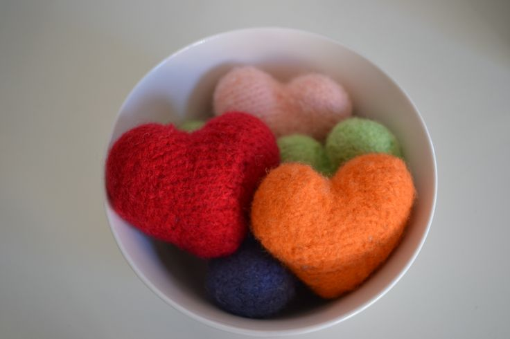 Day 17 - Obsession - Knitting and felting little hearts to give to people who need a little love.