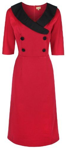 Lindy Bop 'Deanna' Glamorous Vintage Forties Fifties Style Fitted Wiggle Dress