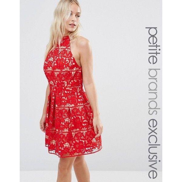 Jarlo Petite Halterneck Cutwork Lace Full Mini Prom Dress (£130) ❤ liked on Polyvore featuring dresses, red, lace dress, prom dresses, petite cocktail dress, halter top prom dresses and lace mini dress