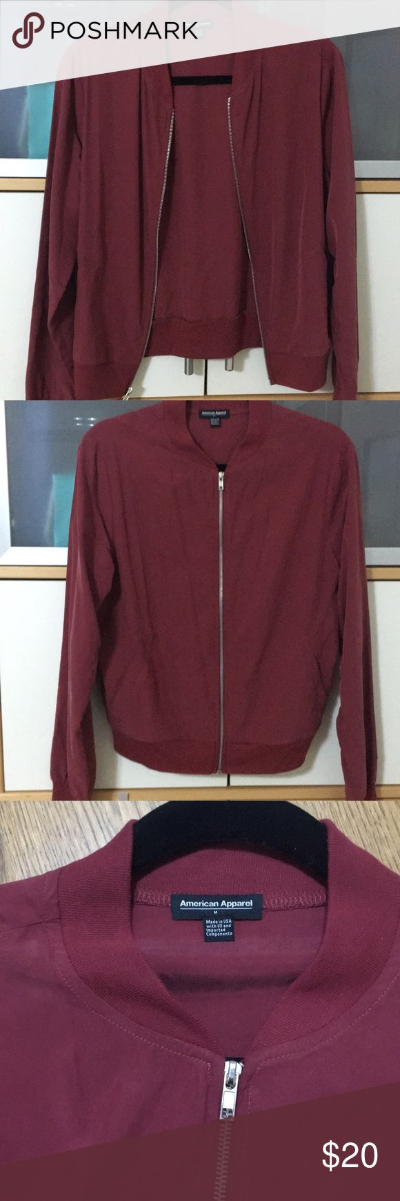 American Apparel Bomber This is a NEW American Apparel Bomber. It has a silver lined zipper with pockets. It is a size medium. It has never been worn. American Apparel Jackets & Coats